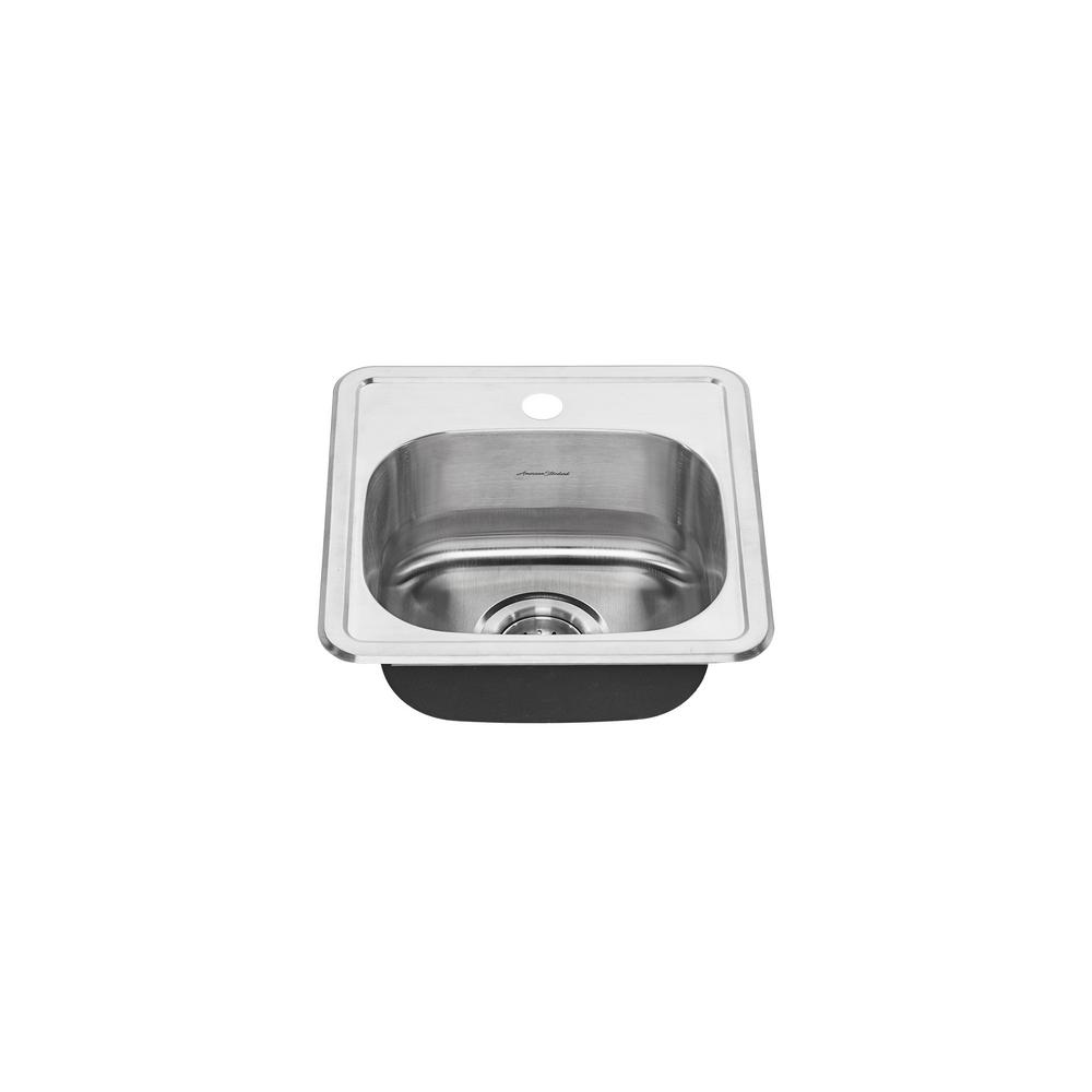 colony pro drop in stainless steel 15 in 1 hole single basin kitchen - Kitchen Sink American Standard