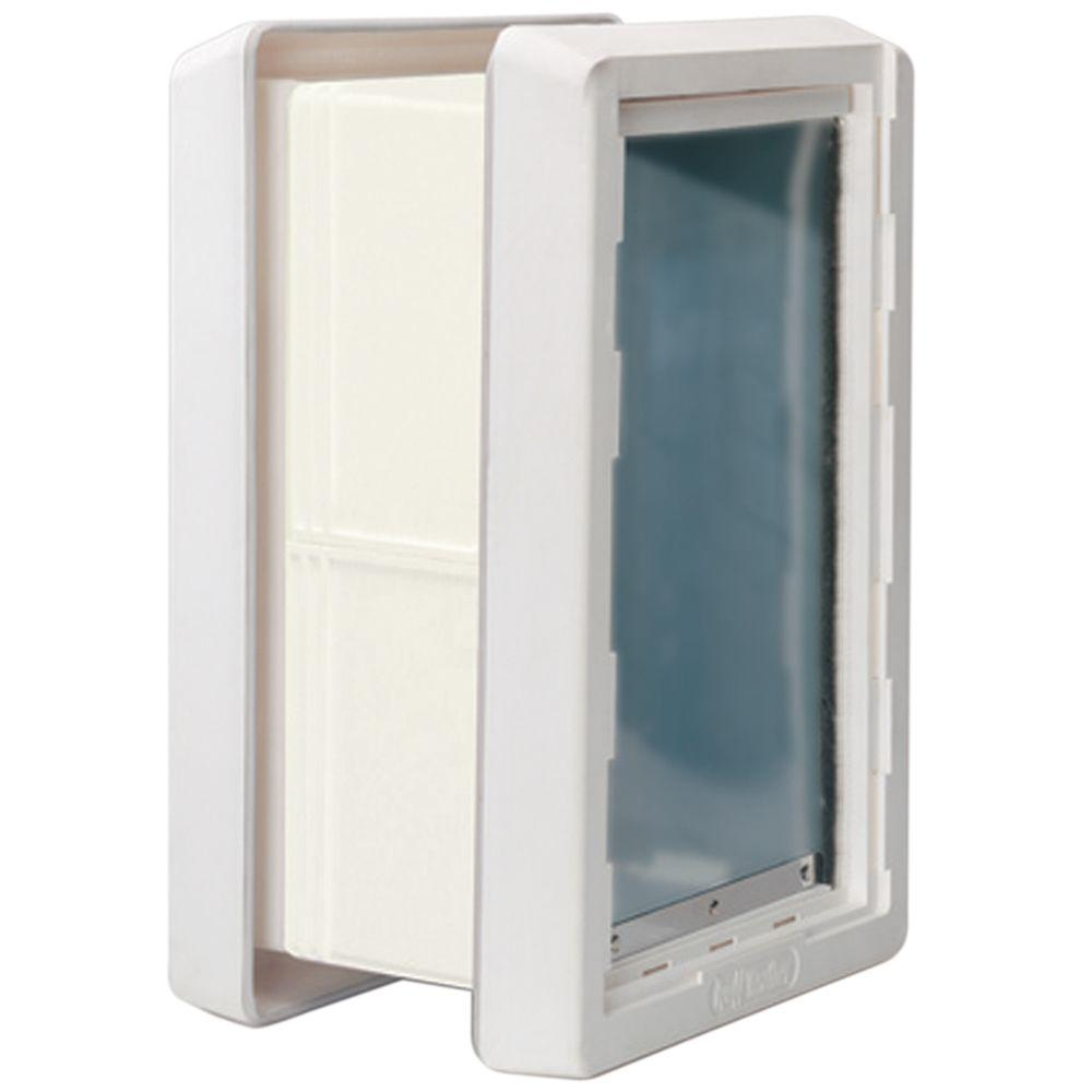 Ideal Pet 7.25 in. x 13 in. Medium Ruff Weather Frame Door with Dual Flaps and Included Kit for in Wall Installation