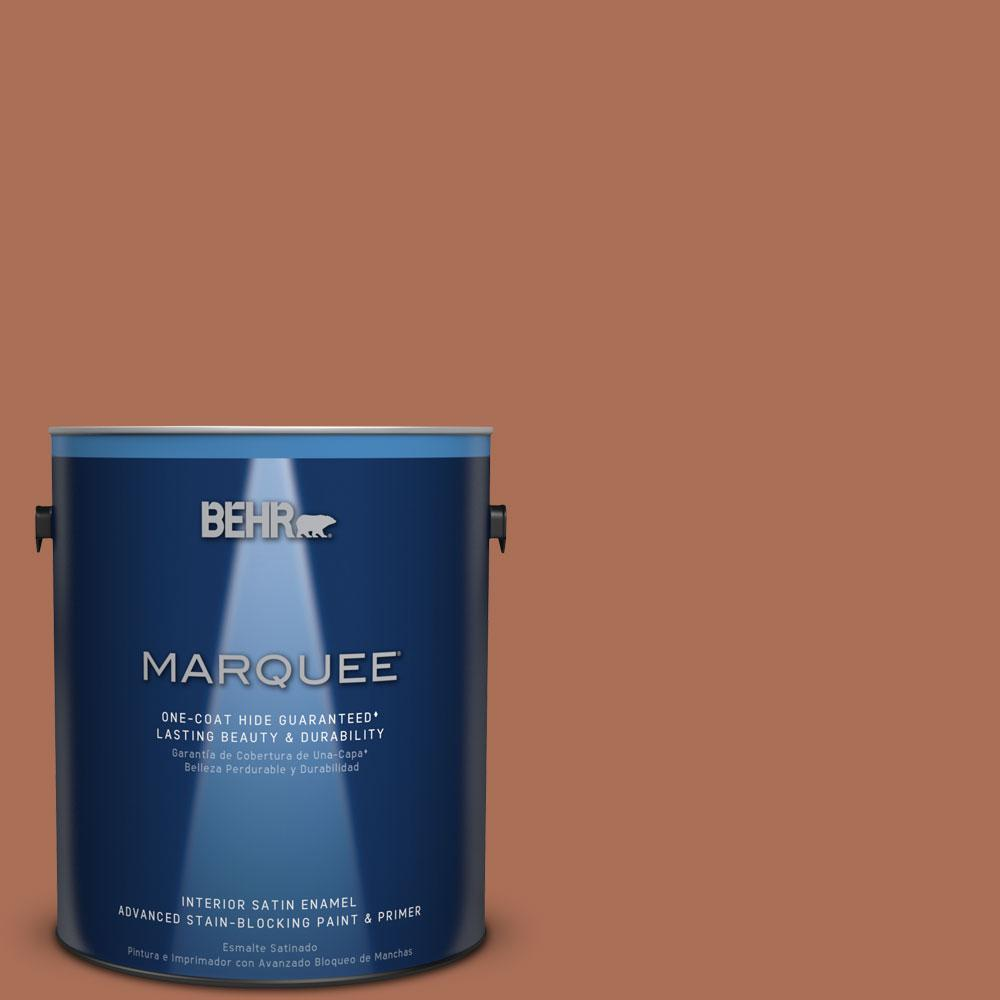 1 gal. #MQ1-28 Orange Flambe One-Coat Hide Satin Enamel Interior Paint