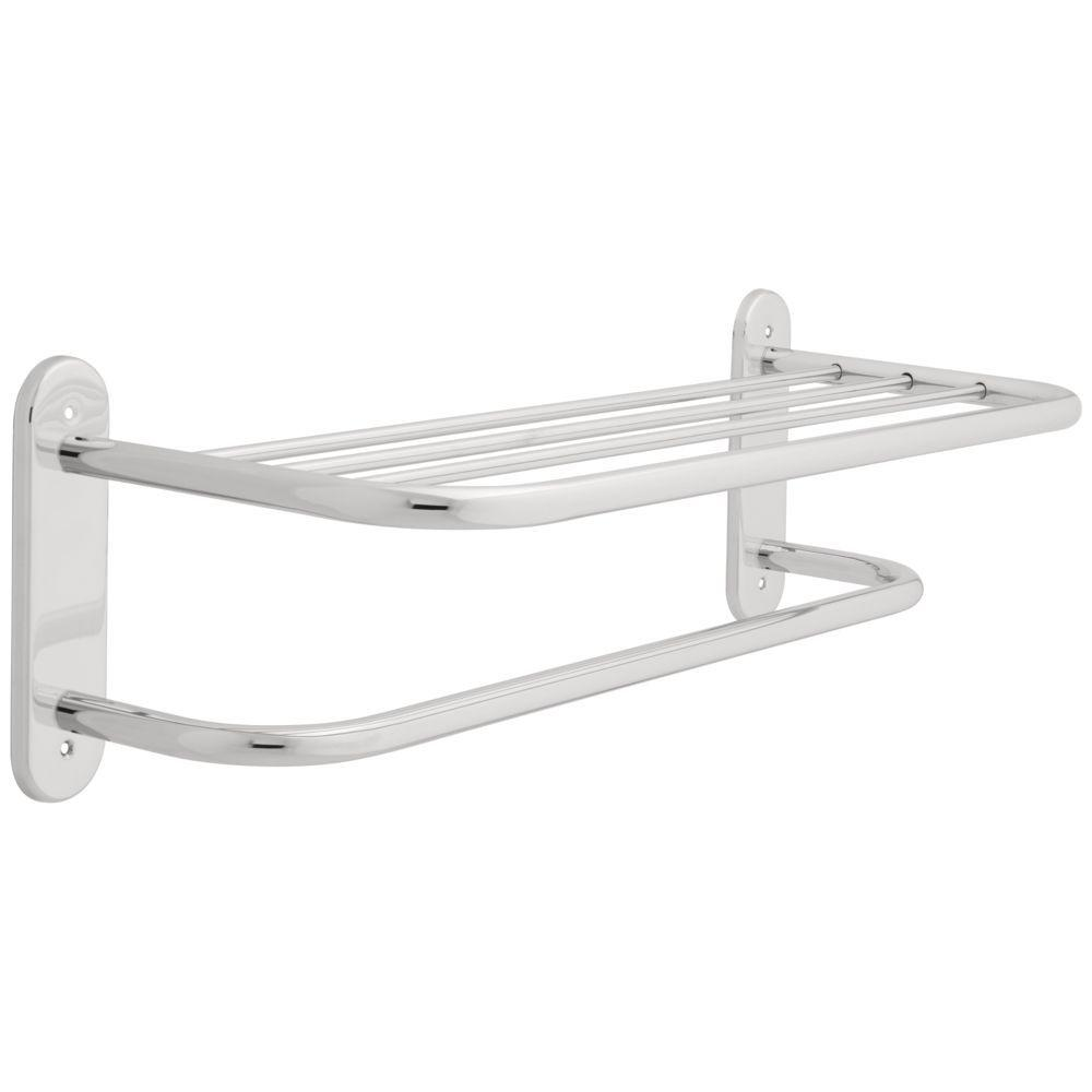 Franklin Brass 24 in. W Towel Shelf with One Bar, Exposed Mounting in Polished Chrome
