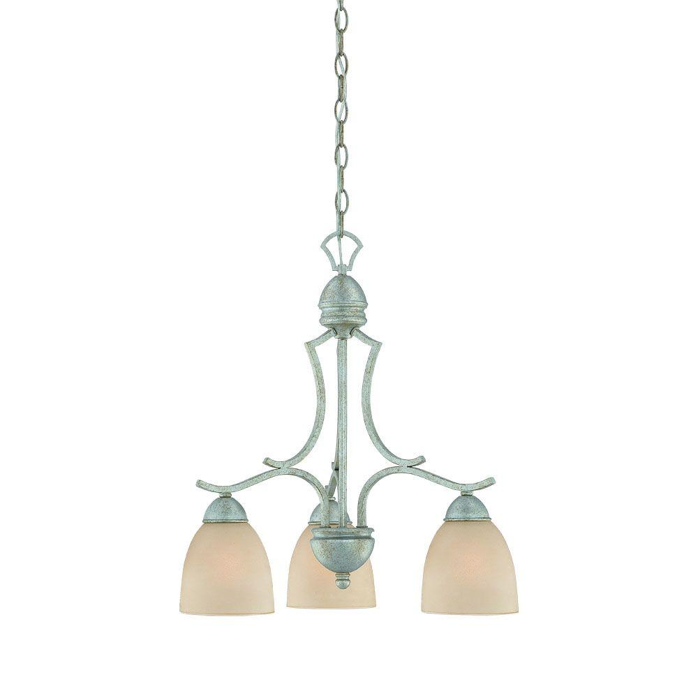 Thomas Lighting Triton 3-Light Moonlight Silver Chandelier with Tea Stained Glass Shade