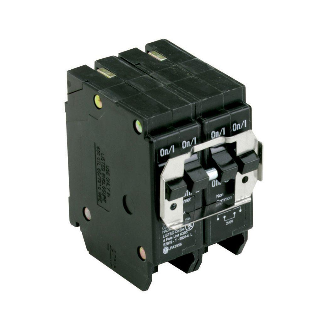One 30 Amp 2 Pole and One 50 Amp 2 Pole Type BR, BQ Quadplex Circuit Breaker