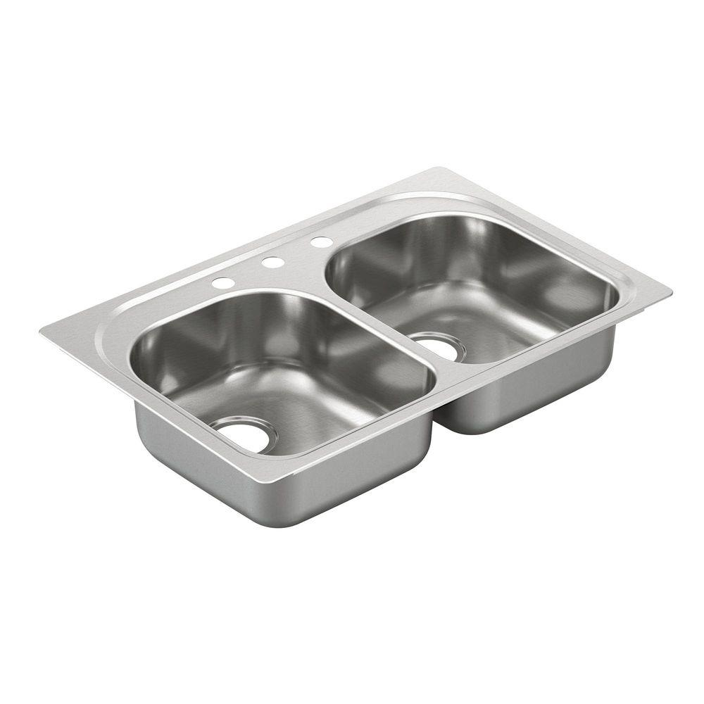 MOEN 2000 Series Drop-In Stainless Steel 33 in. 3-Hole Double Bowl Kitchen Sink