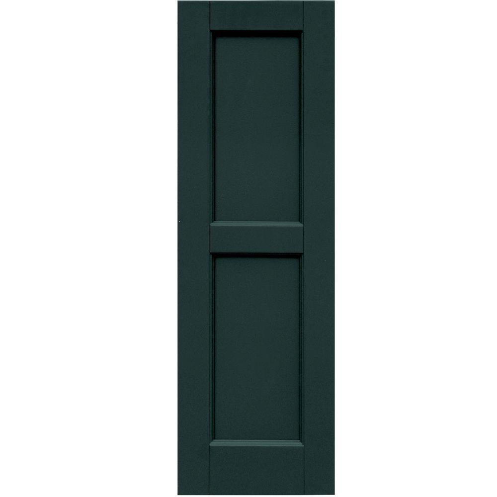 Winworks Wood Composite 12 in. x 38 in. Contemporary Flat Panel Shutters Pair #638 Evergreen