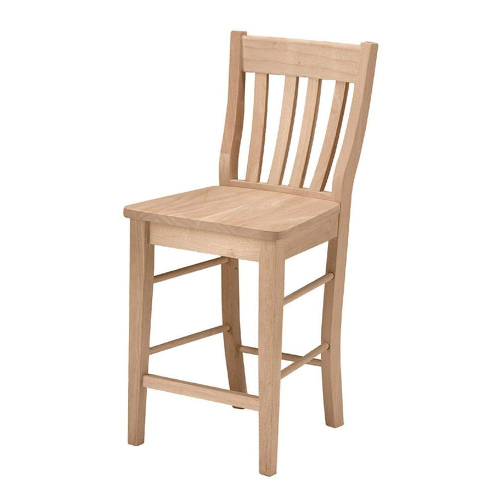International concepts 24 in unfinished wood bar stool s 6162 the home depot Home depot wood bar stools