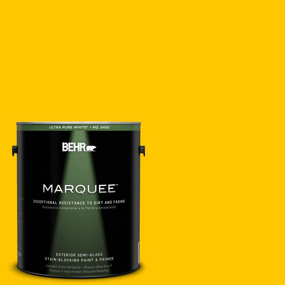 BEHR MARQUEE 1-gal. #370B-7 Yellow Flash Semi-Gloss Enamel Exterior Paint-545301