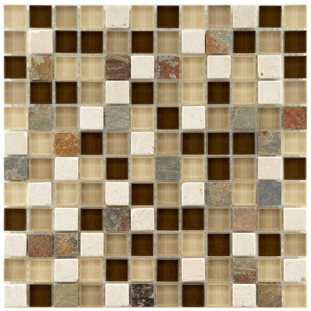 Merola Tile Tessera Square Nassau 11-5/8 in. x 11-5/8 in. x 8 mm Glass and Stone Mosaic Tile, Multicolored Tan And Brown/Mixed Finish