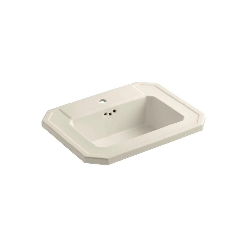 Kathryn Drop-In Vitreous China Bathroom Sink in Almond with Overflow Drain