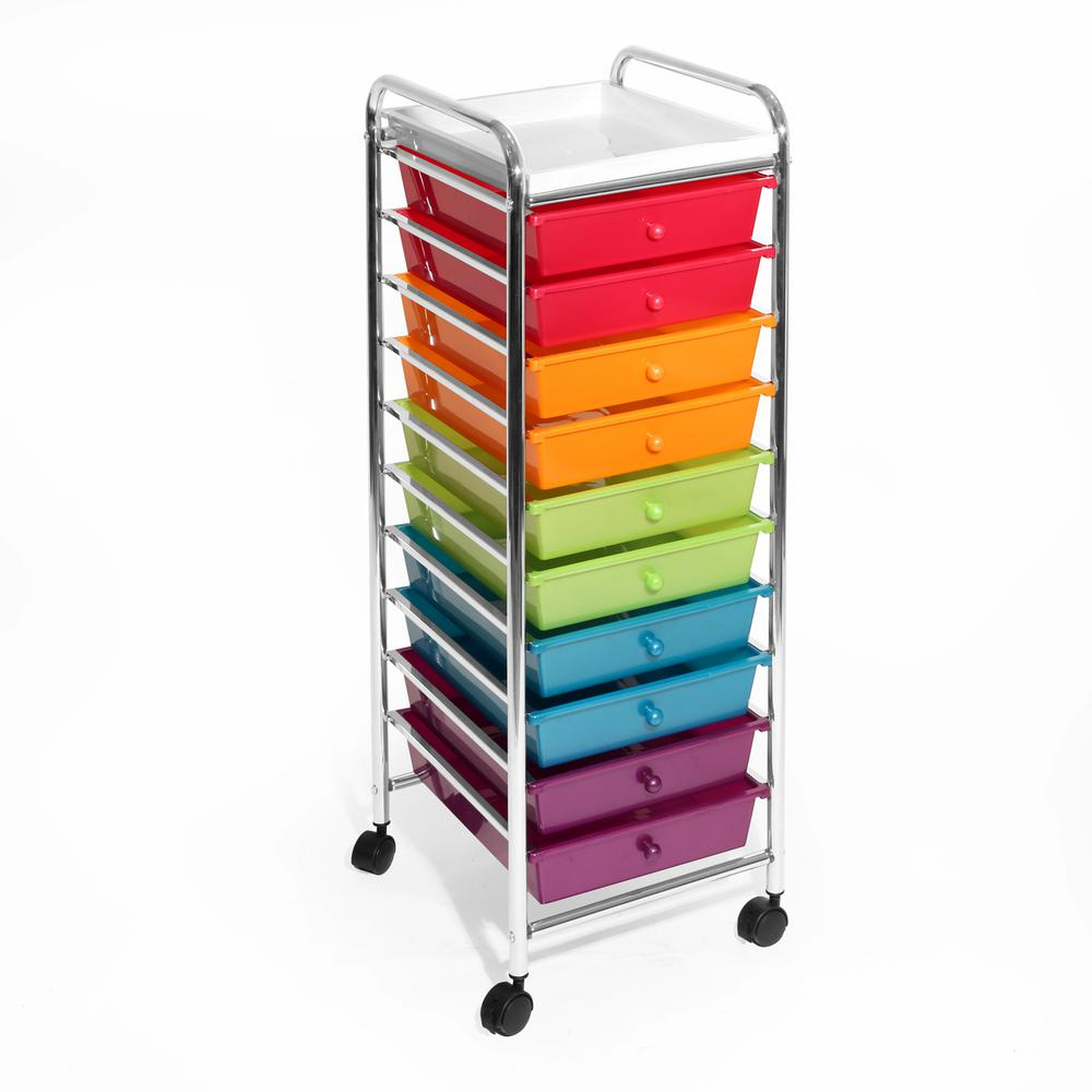 10-Drawer Steel Organizer Cart in Pearlized Multi-Color