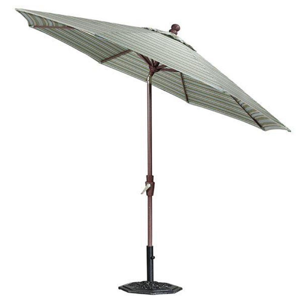 Home Decorators Collection Sunbrella 11 ft. Auto-Tilt Patio Umbrella in Cilantro Stripe