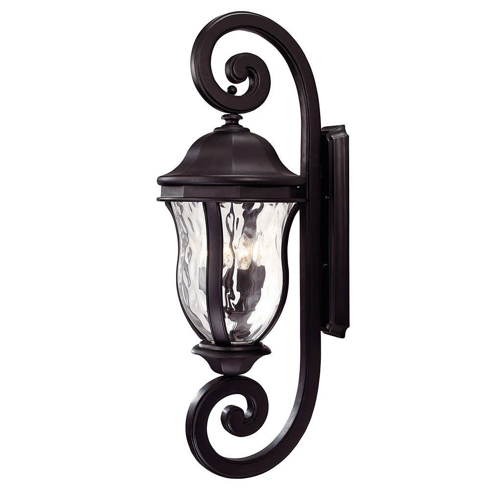 Illumine Satin 4-Light Outdoor Black Wall Lantern with Clear Water Glass