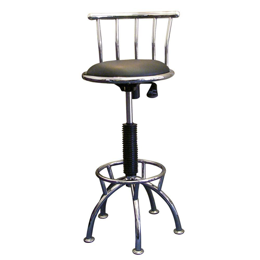 Home decorators collection adjustable height chrome swivel cushioned bar stool r651 cp the Home depot wood bar stools