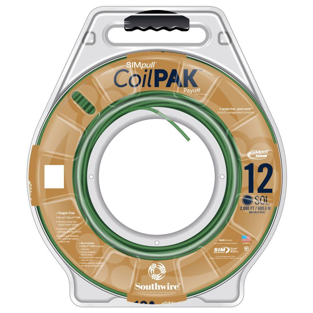 2000 ft. 12 Green Solid CU CoilPAK SIMpull Thhn-Thwn Wire