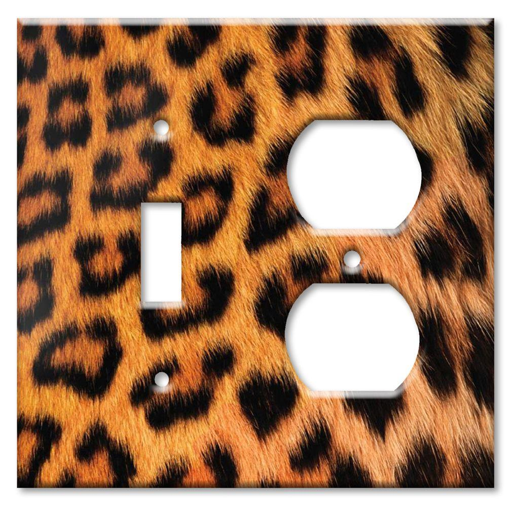 Art Plates Leopard Fur Print Switch/Outlet Combo Wall Plate
