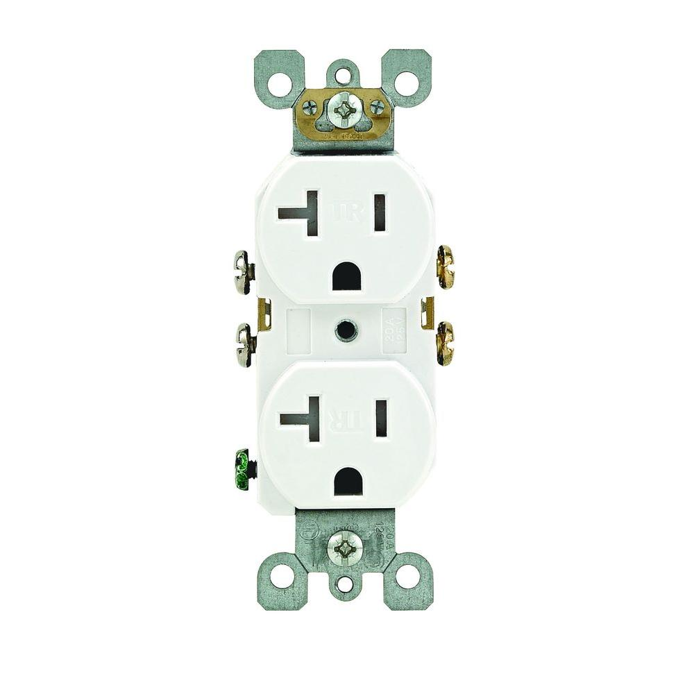Leviton 20 Amp Tamper-Resistant Duplex Outlet, White-R52-T5820-0WS - The Home
