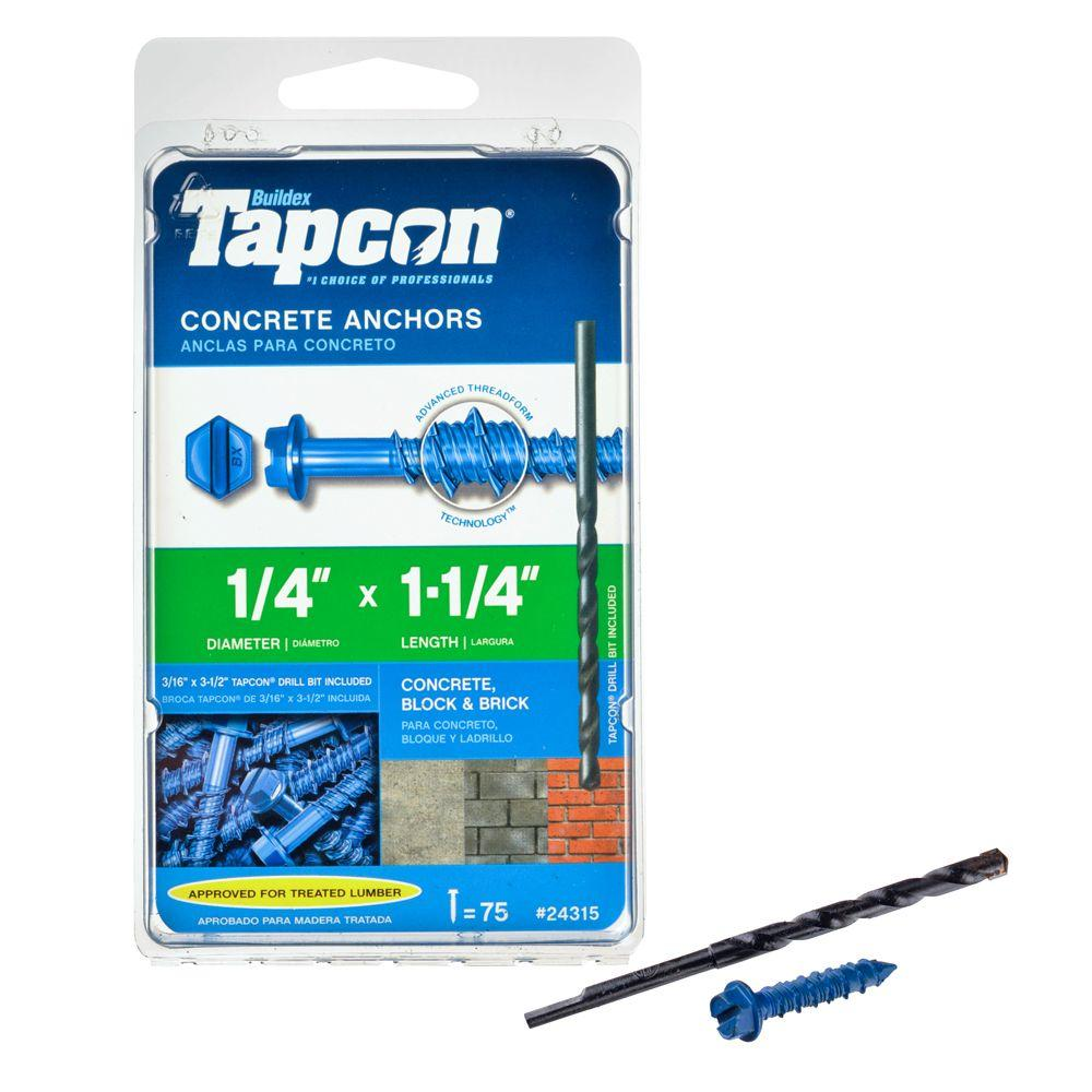 Tapcon 1/4 in. x 1-1/4 in. Hex-Washer-Head Concrete Anchors (75-Pack)