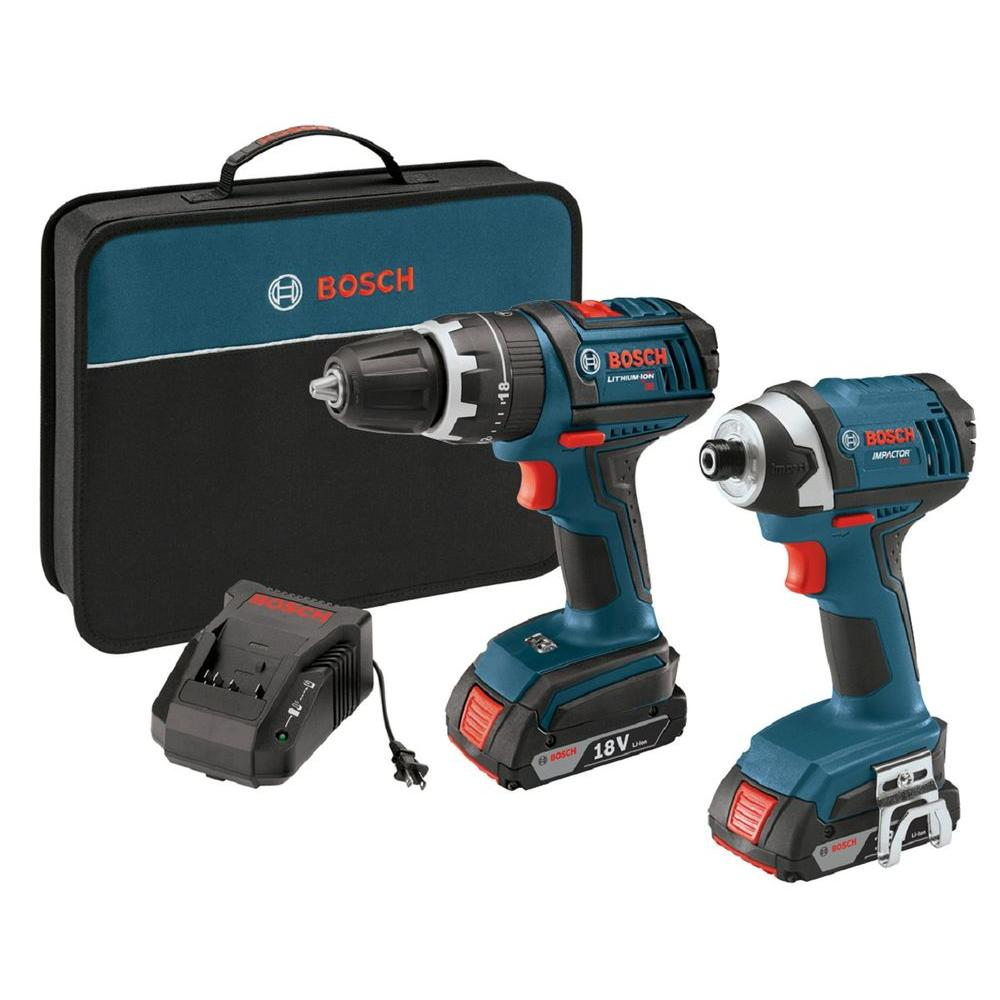 Bosch 18-Volt Lithium-Ion Cordless 1/2 in. Hammer Drill/Driver and 1/4 in. Impact Driver Kit with 2-2.0 Ah Batteries (2-Tool)