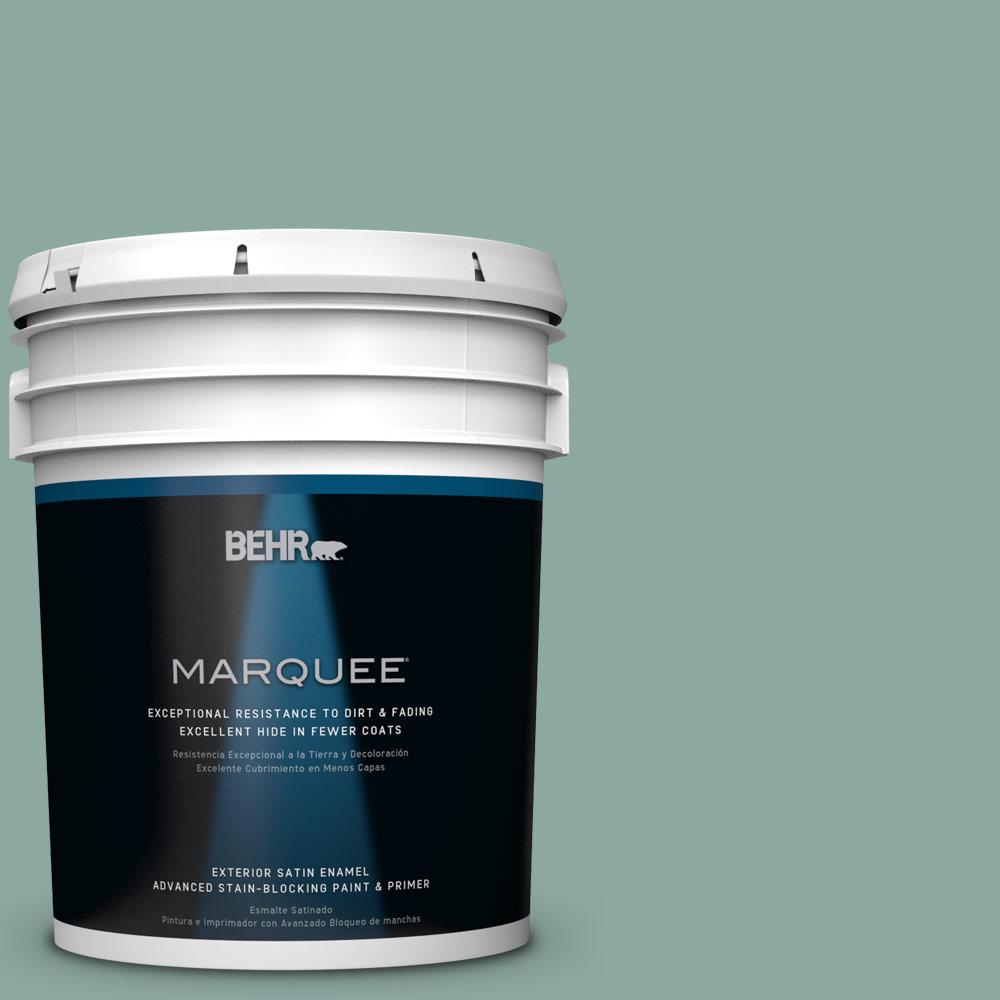 BEHR MARQUEE 5-gal. #S430-4 Green Meets Blue Satin Enamel Exterior Paint-945405