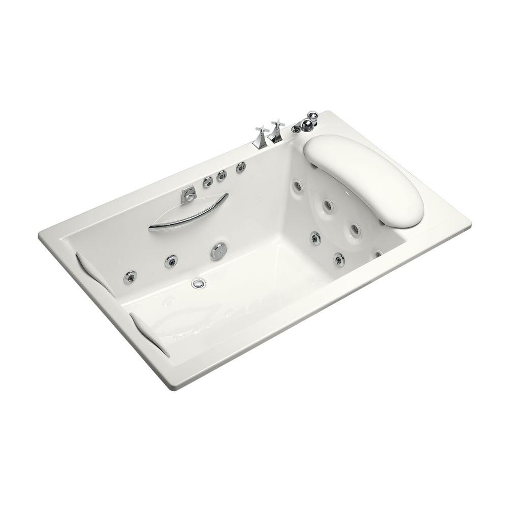 KOHLER RiverBath Quadrangle 3.83 ft. Whirlpool Tub with Heater and Center Drain in White