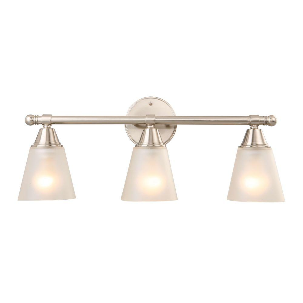 Hampton Bay Vanity Light Brushed Nickel : Hampton Bay 3-Light Brushed Nickel Vanity Light-GJK1393A-4/BN - The Home Depot