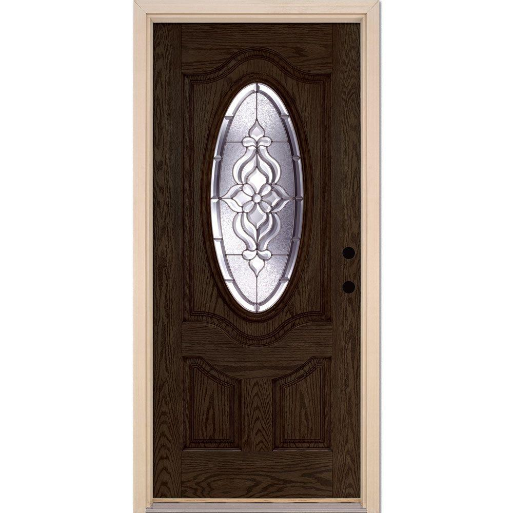 37.5 in. x 81.625 in. Lakewood Zinc 3/4 Oval Lite Stained