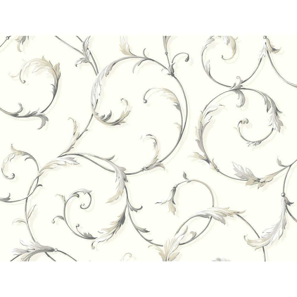 York Wallcoverings Black and White Acanthus Scroll Wallpaper