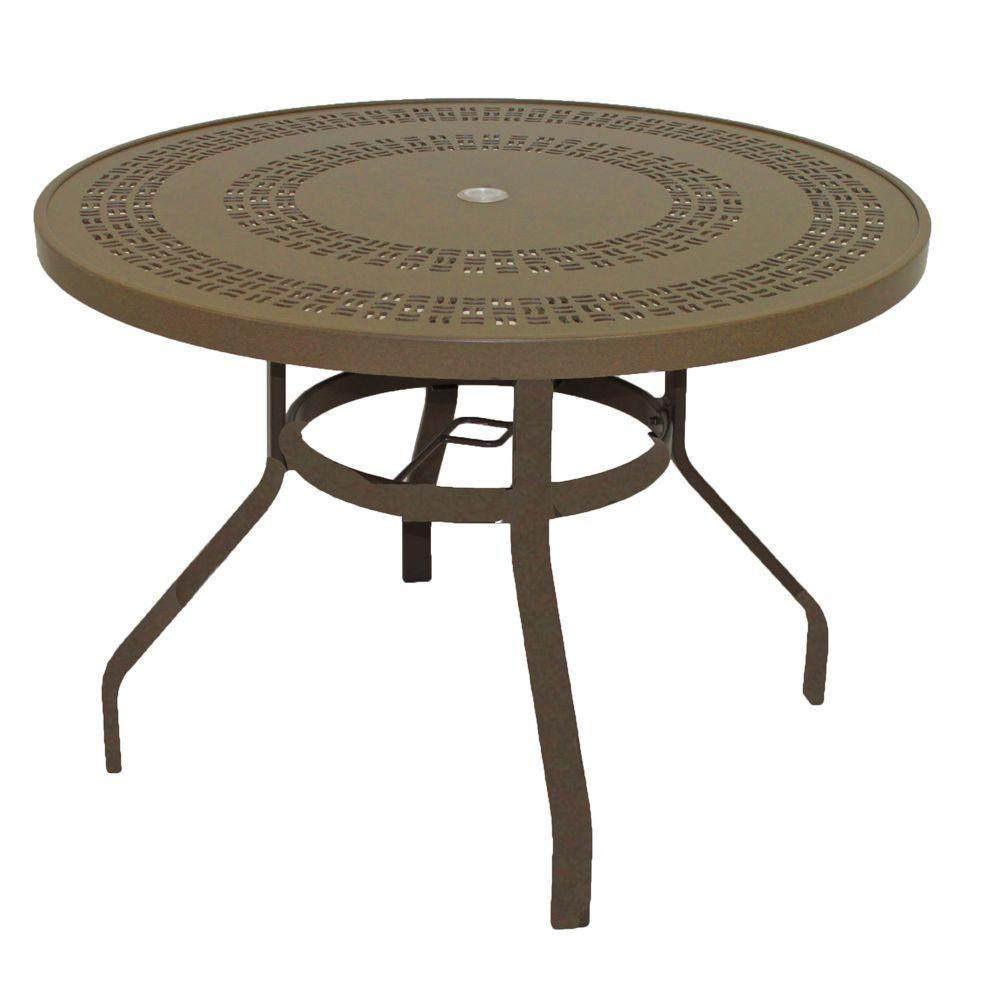 Marco Island 42 In Brownstone Round Commercial Aluminum Patio Dining Table B42puj S The Home