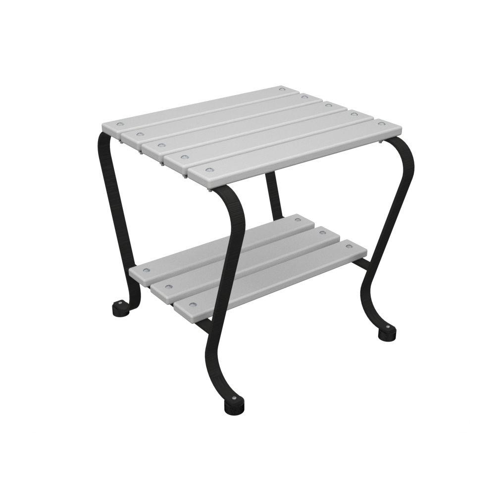 Ivy Terrace 18 in. Black and White Patio Side Table-DISCONTINUED