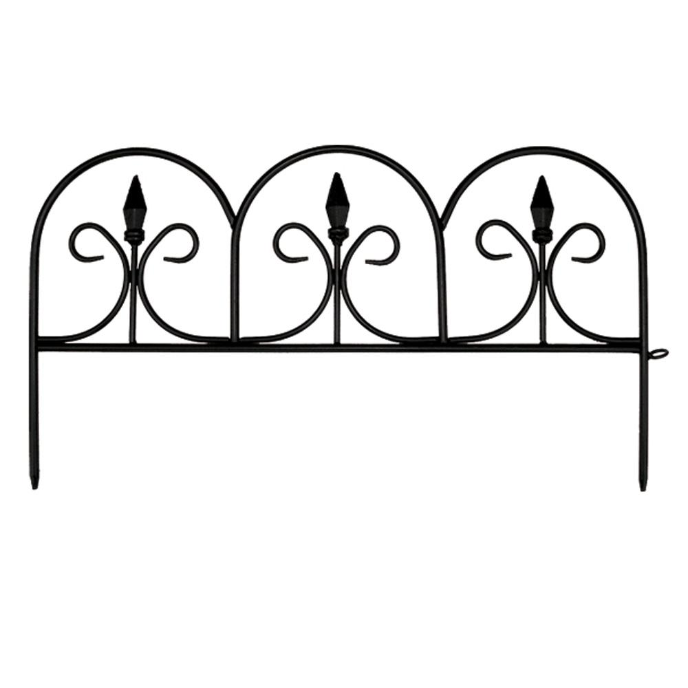 10 in. Resin Victorian Fleur De Lis Garden Fence (12-Pack)