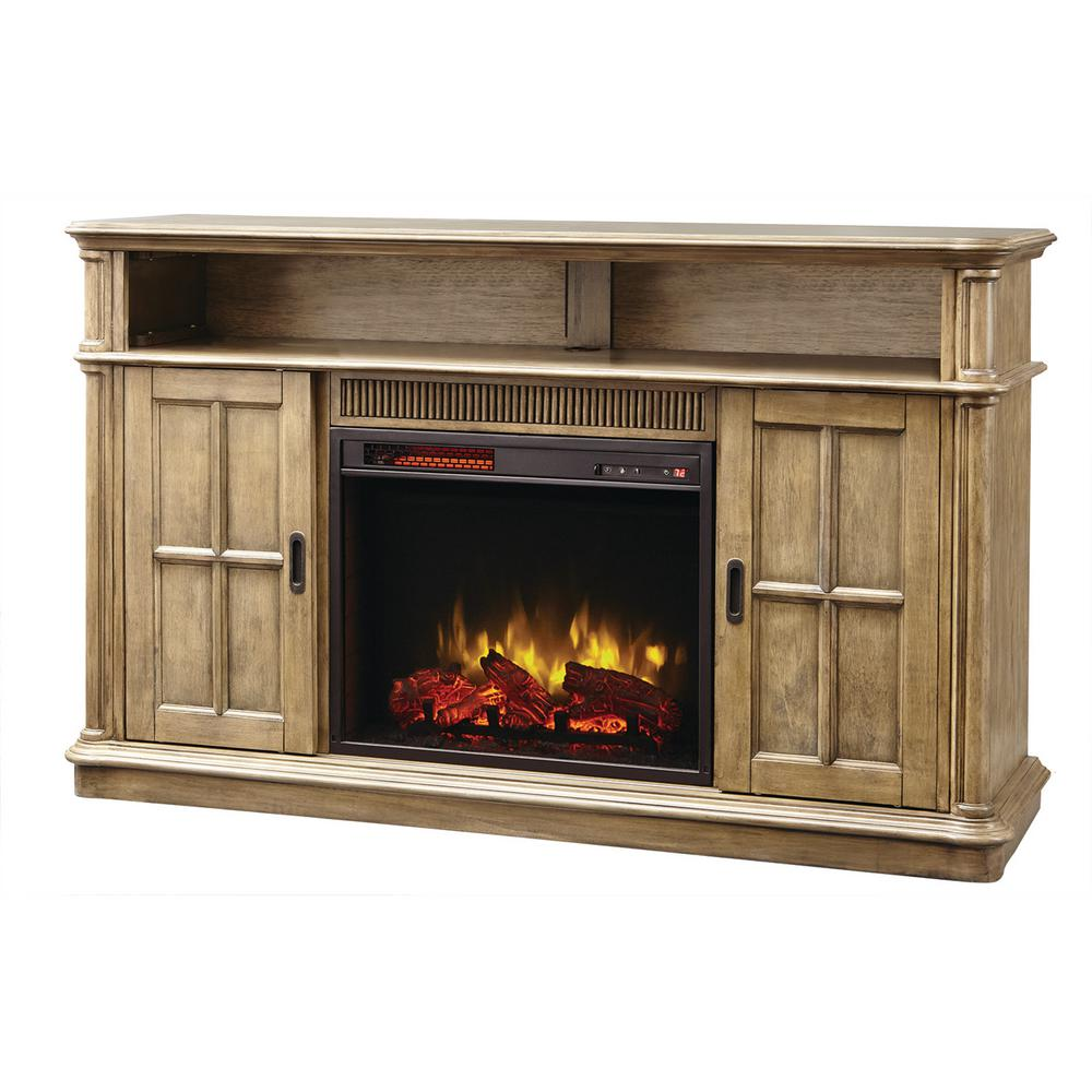 This question is from Jamerson Manor 60 in. Media Console Infrared Electric  Fireplace in Driftwood - Home Decorators Collection Jamerson Manor 60 In. Media Console