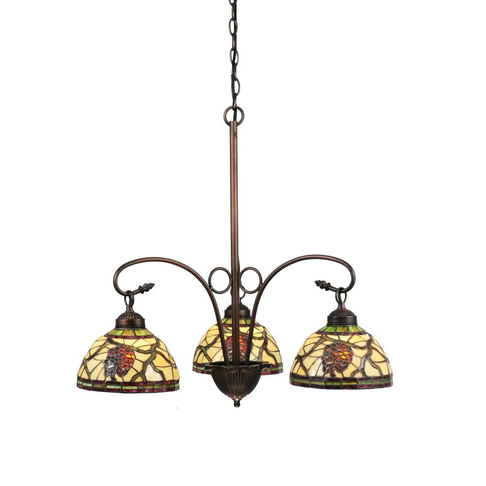 Illumine 3 Light Pinecone Chandelier Mahogany Bronze Finish
