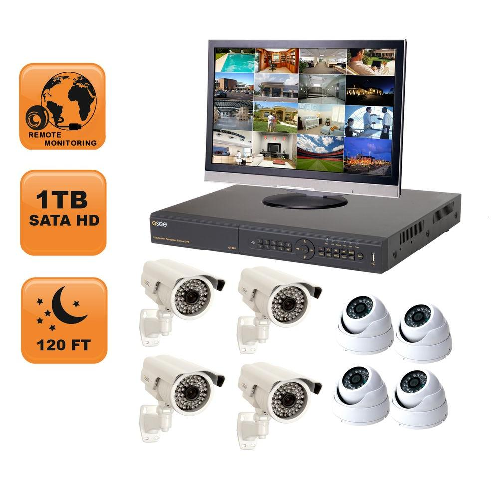 Q-SEE Premium 16 CH 1 TB Hard Drive Surveillance System with (4) 650 TVL, (4) Dome 420 TVL Cameras 19 in. Monitor-DISCONTINUED