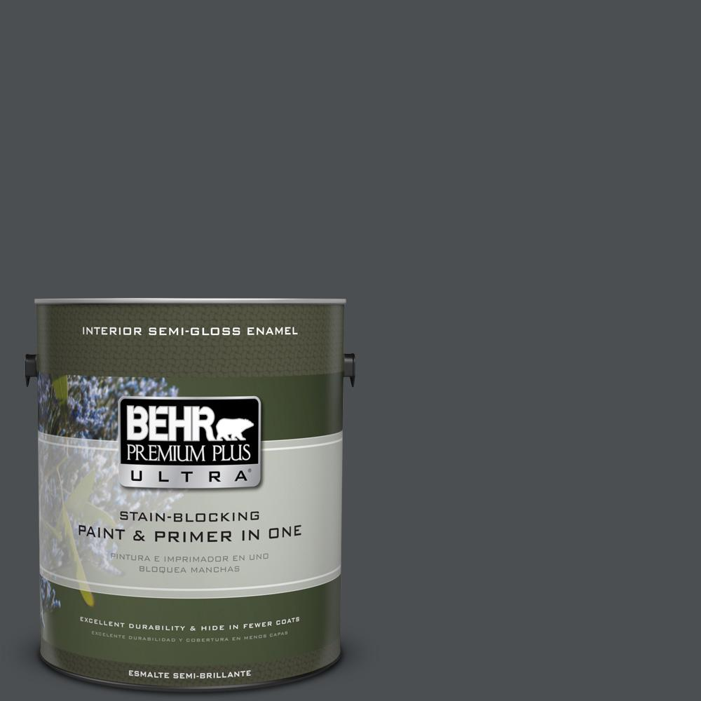 1 gal. #PPU26-01 Satin Black Semi-Gloss Enamel Interior Paint