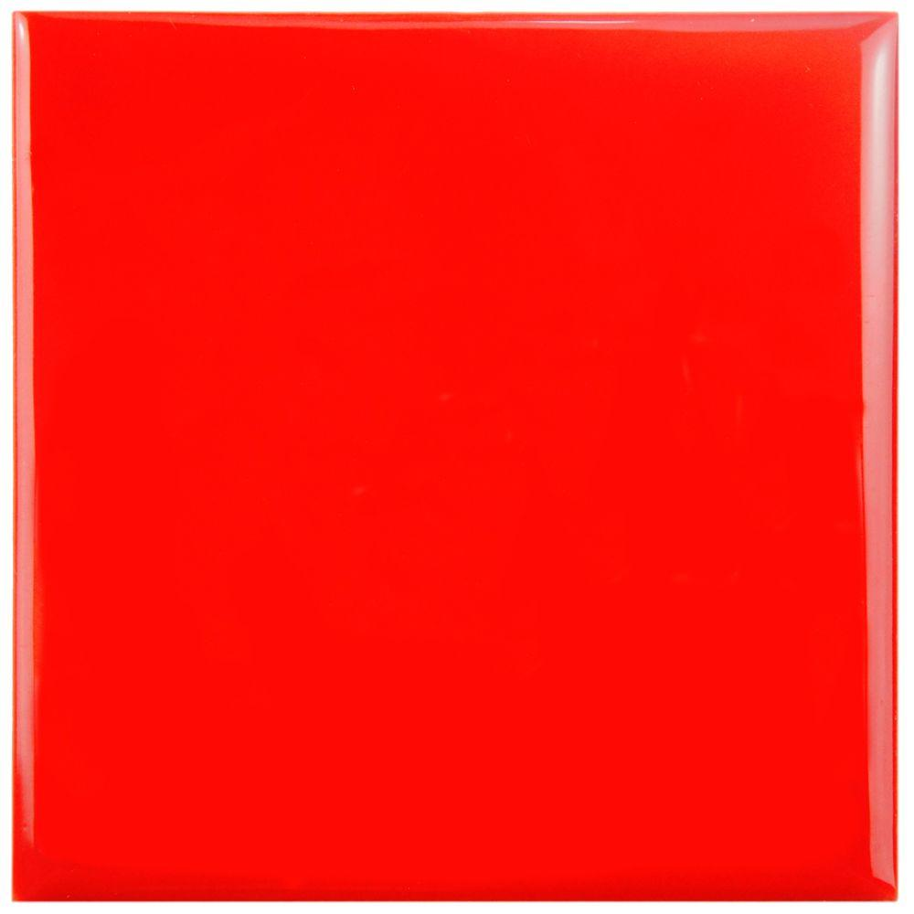 Merola Tile Twist Square Red Cherry 3-3/4 in. x 3-3/4 in. Ceramic Wall Tile