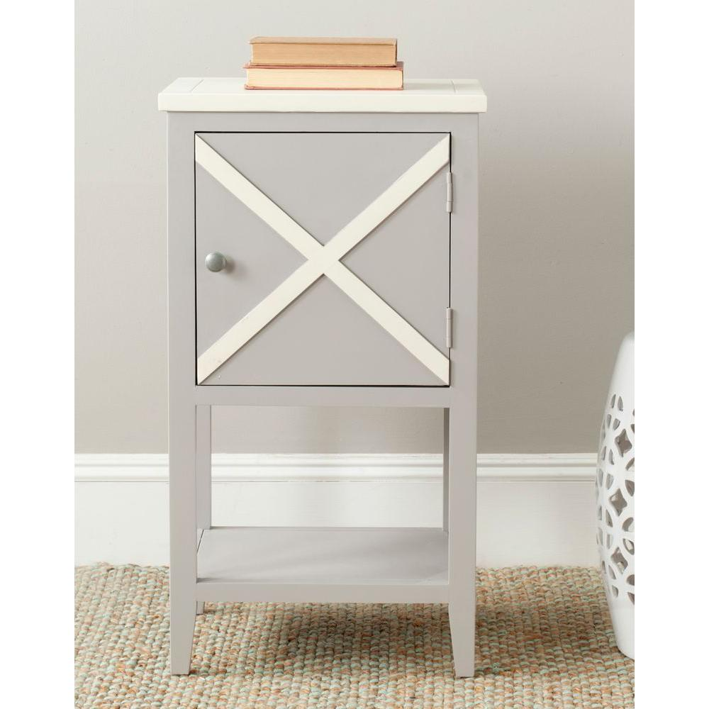 Safavieh Ward Gray and White Storage Side Table