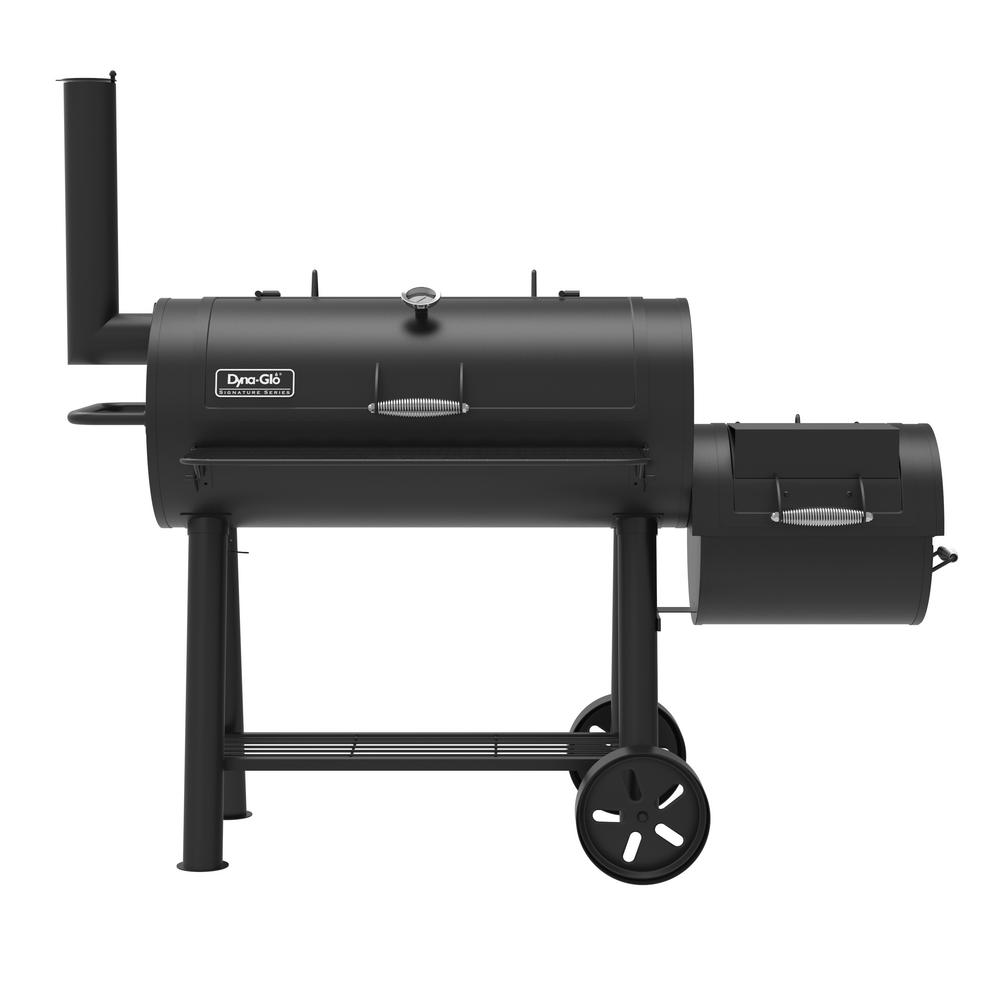 Signature Series Heavy-Duty Barrel Charcoal Grill and Offset Smoker in Black
