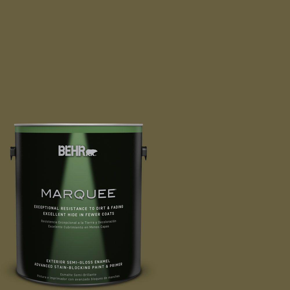 BEHR MARQUEE 1-gal. #ICC-88 Classic Olive Semi-Gloss Enamel Exterior