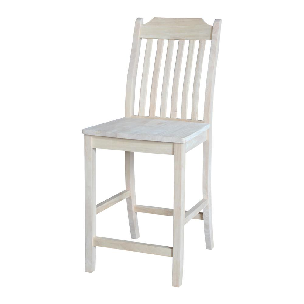 International concepts steambent mission 24 in unfinished wood bar stool s 342 the home depot Home depot wood bar stools