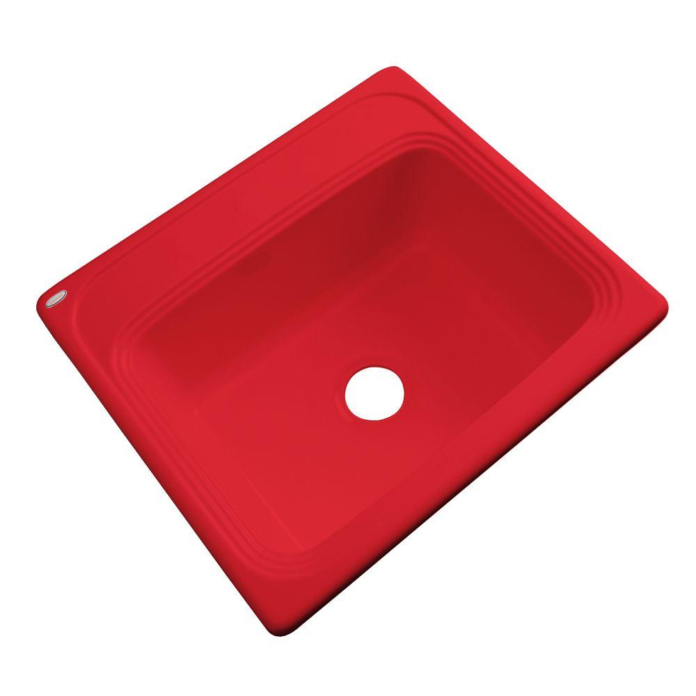 Thermocast Wellington Drop-in Acrylic 25x22x9 in. 0-Hole Single Bowl Kitchen Sink in Red