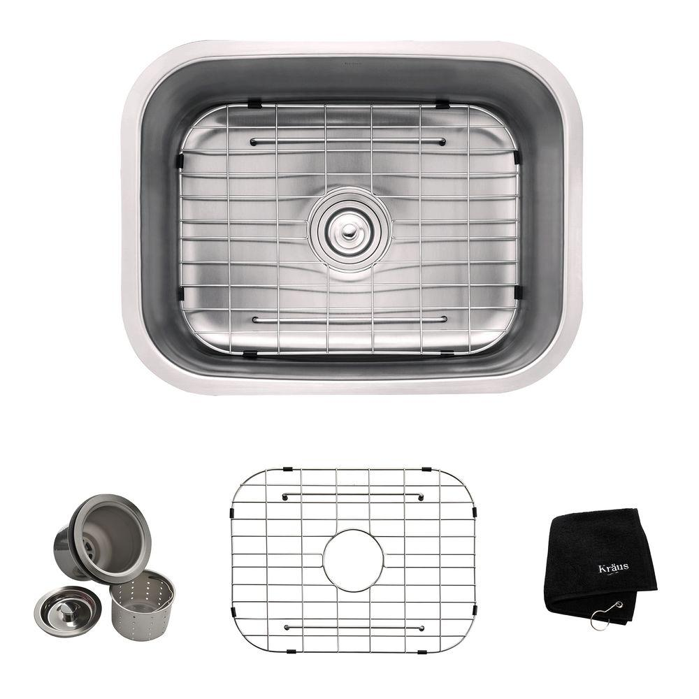 KRAUS All-in-One Undermount Stainless Steel 23 in. Single Bowl Kitchen Sink