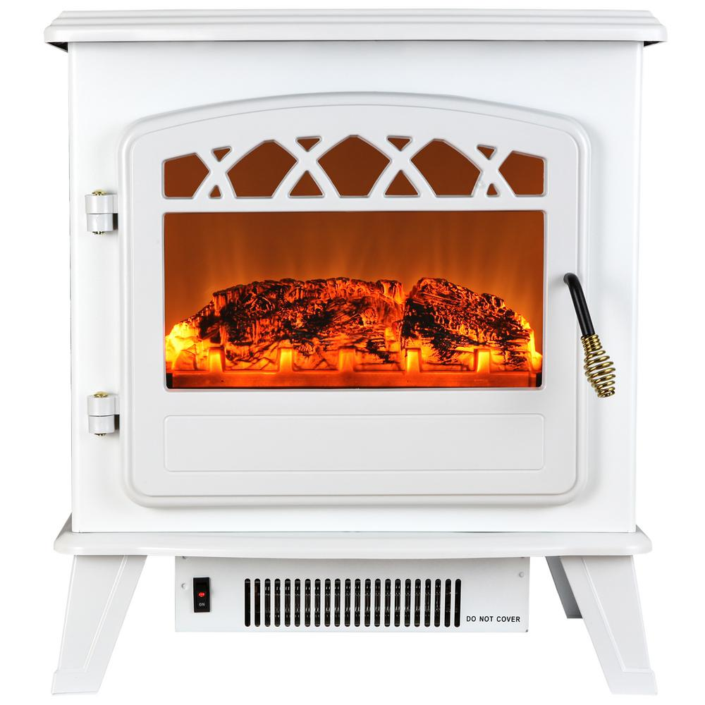 AKDY 20 in. Freestanding Electric Fireplace Stove Heater in White ...