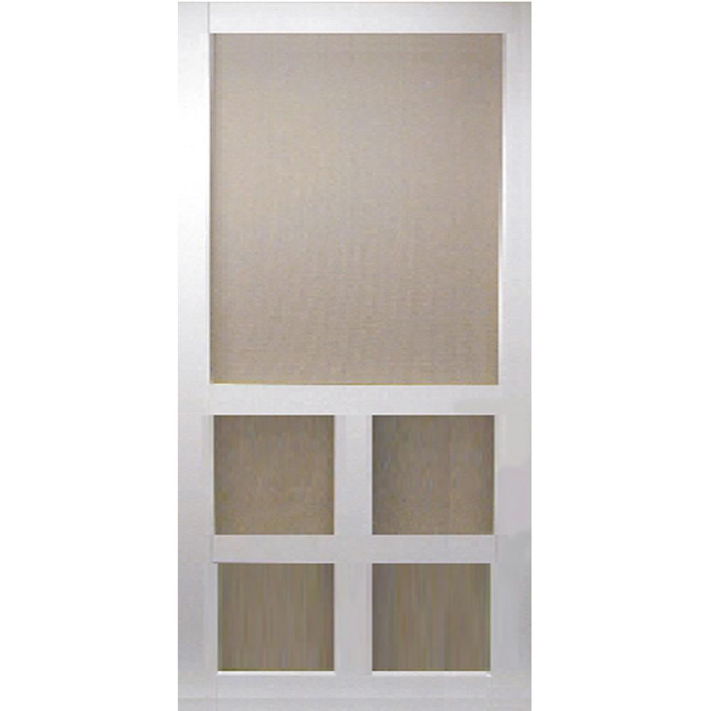 Screen tight 30 in x 80 in solid vinyl white 5 bar for Exterior doors with screen insert