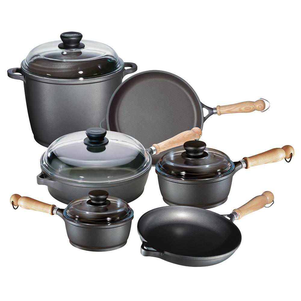 Tradition 10 Piece Non Stick Cast Aluminum Cookware Set With Lids, Gray
