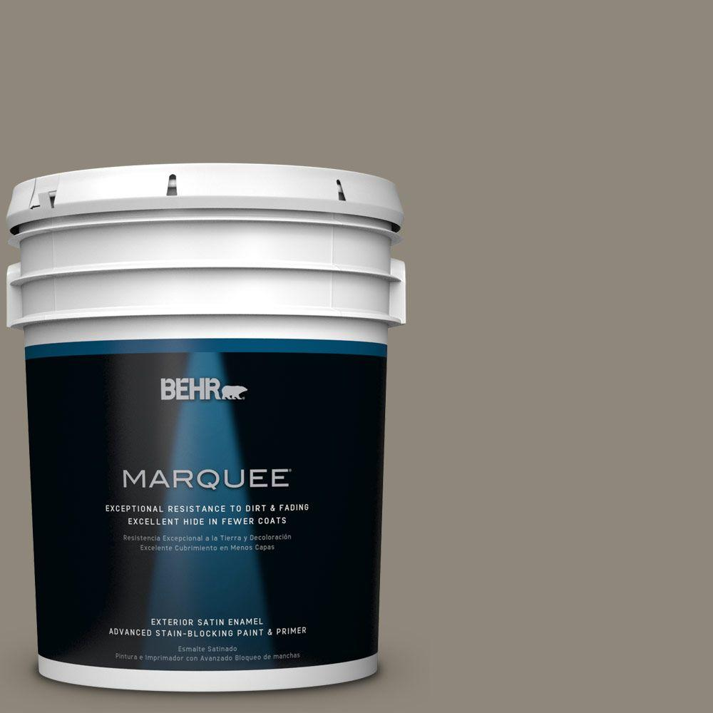 BEHR MARQUEE 5 gal. #T16-08 Fifth Olive-Nue Satin Enamel Exterior Paint-945405