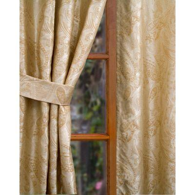 Home Decorators Collection Semi-Opaque Beige Vanderbilt Rod Pocket Panel - in. W x 96 in. L