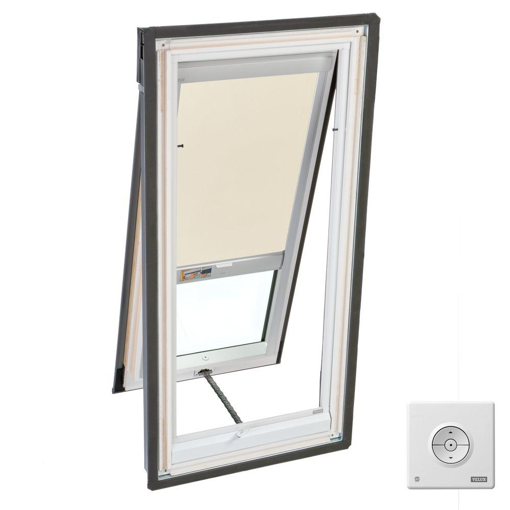 VELUX 21 in. x 45-1/2 in. Venting Deck-Mount Skylight with Tempered LowE3 Glass and Beige Solar Powered Blackout Blind