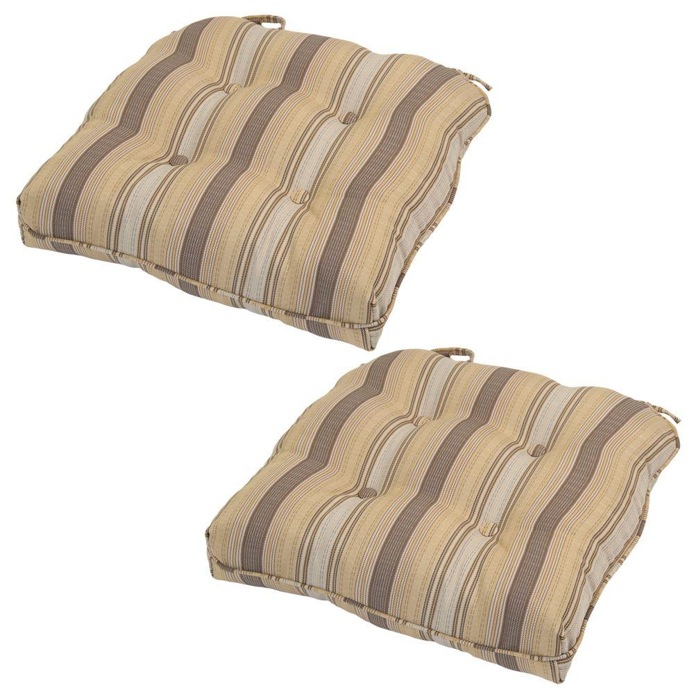 Hampton Bay Cornbread Stripe Rapid-Dry Deluxe Tufted Outdoor Seat Cushion