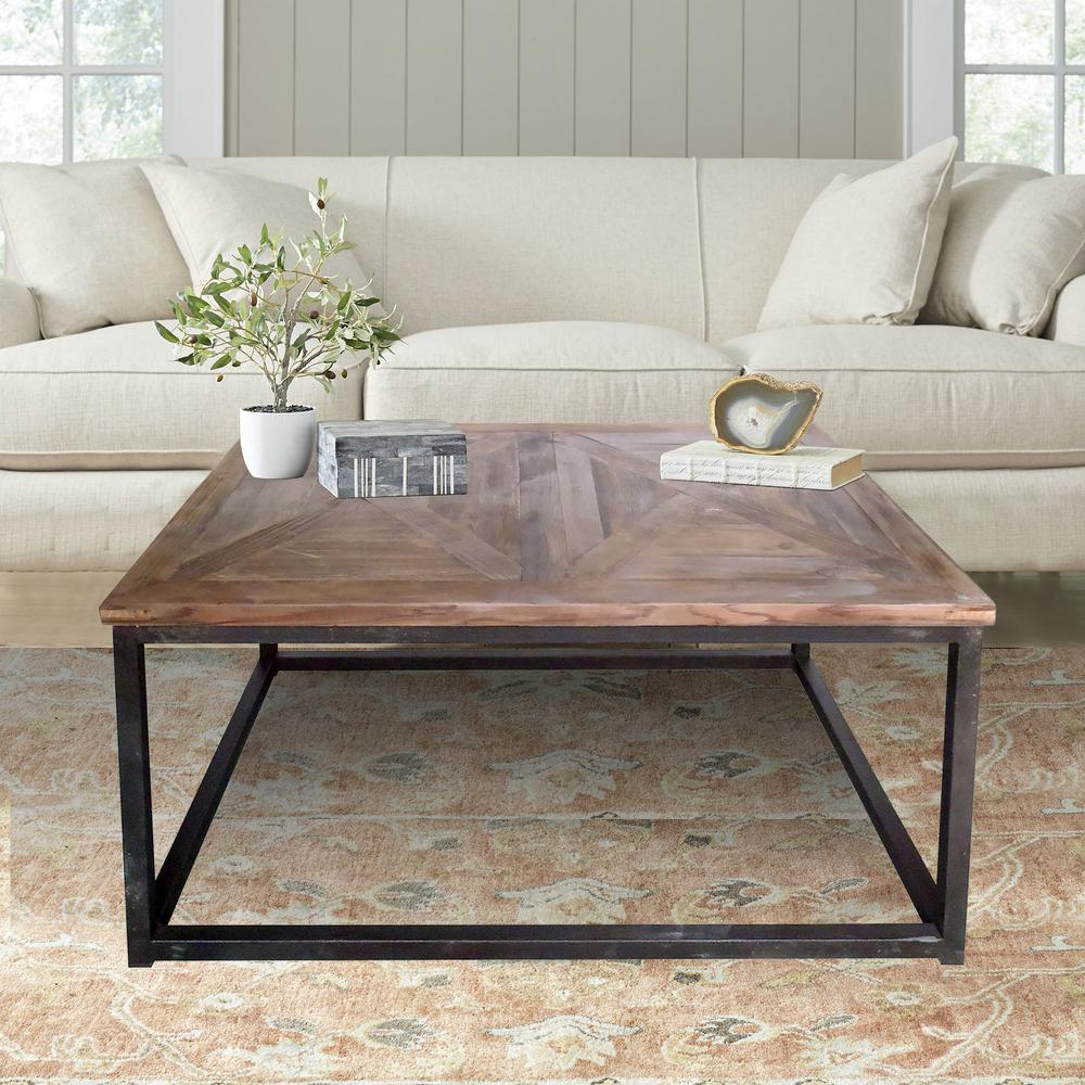 Reclaimed Wood Industrial Coffee Table: Lux Home Industrial Reclaimed Wood Square Coffee Table-DMT