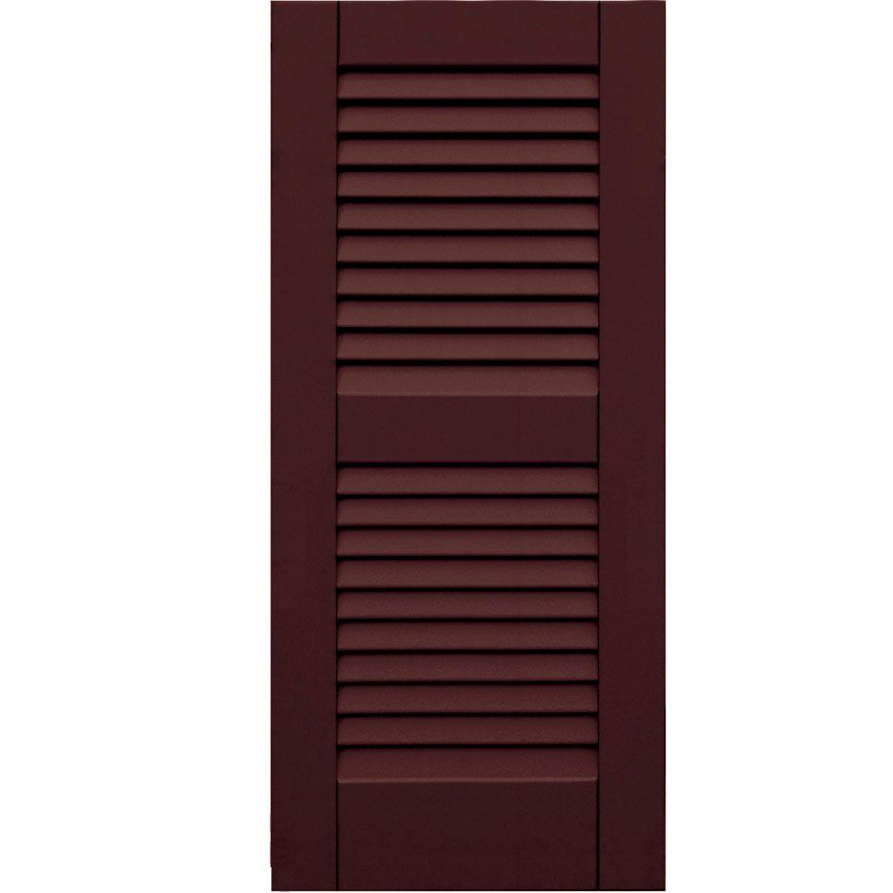 Winworks Wood Composite 15 in. x 34 in. Louvered Shutters Pair #657 Polished Mahogany