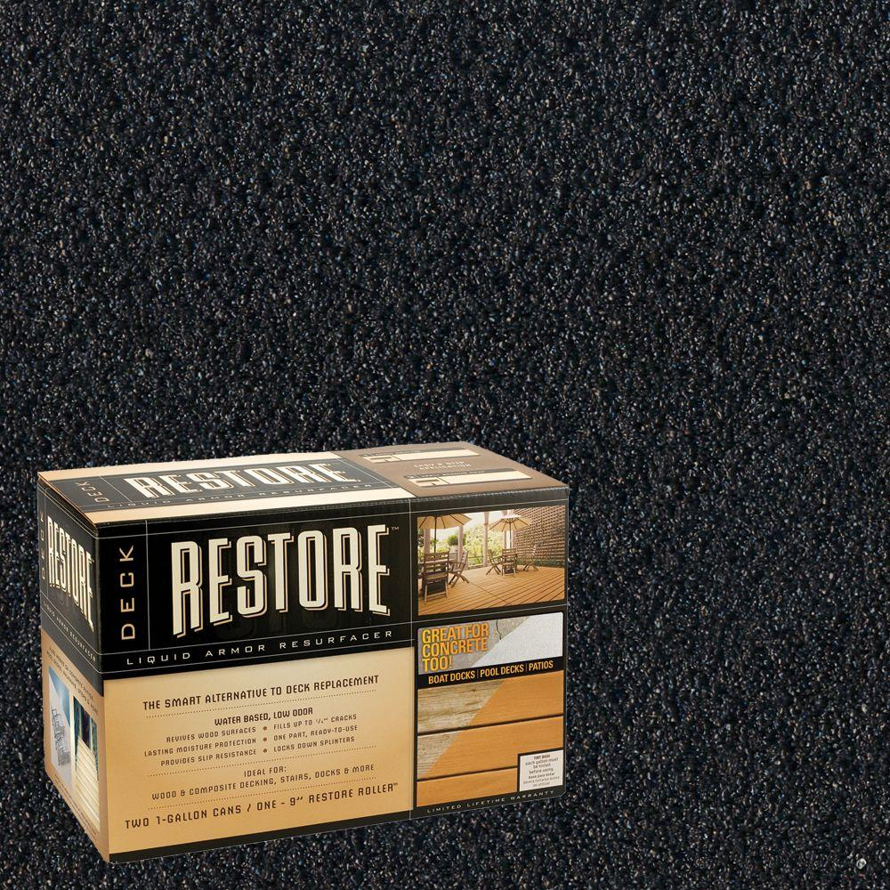 Restore Deck Liquid Armor Resurfacer 2 Gal. Kit Water Based Black Exterior Coating-DISCONTINUED